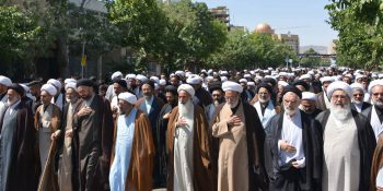 Pictorial Report / The Massive Gathering Of Mourners Of Imam Sadiq With The Presence Of Ayatollahs, Scholars, And Seminary Students In Mashhad